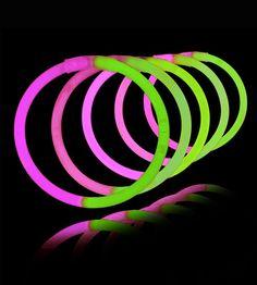 8 Inch Glowstick Bracelets - Bi-Color - Green/Pink - Save 10% off sitewide at GlowUniverse.com with code PIN10