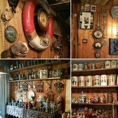I call this Herr Diel's Amazing Nautical Collection. The mounted piranha are amazing and weird! #mainz #mainzhechtsheim #fachwerk #collectibles #antiques #antiquefarmequipment #oldfarmequipment #interiordecorating #antiquefurniture #biedermeier #vintage #brocante #germanantiques #germany