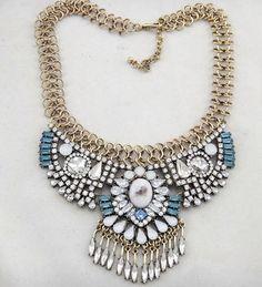 Maxi colar ouro velho com cristais