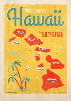 """Welcome to Hawaii""  - Custom poster illustration  for Hawaiian Gift shop."