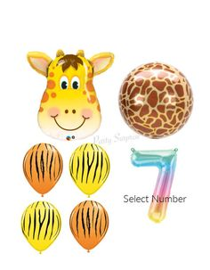 Giraffe Safari Balloon Pkg Number Balloon Mylar Foil Orbz Giraffe Jungle Safari Party Balloons Birthday Party Latex Animals Made in USA by PartySurprise on Etsy Jungle Balloons, Its A Boy Balloons, Yellow Balloons, Number Balloons, Printed Balloons, Confetti Balloons, Safari Party Decorations, Gift Bows, Balloon Animals