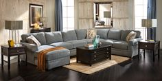 We can fit a giant sofa like this in the living room. Sofa Mart: Ryan Sectional Group : SC-JLRYSHRH