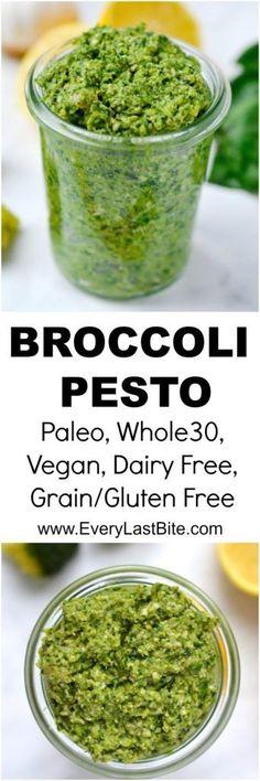 Paleo Broccoli Pesto with cashews Dairy Free Recipes, Vegan Gluten Free, Vegetarian Recipes, Dairy Free Pesto, Antipasto, Pesto Vegan, Vegetarian Pesto, Broccoli Pesto, Spinach