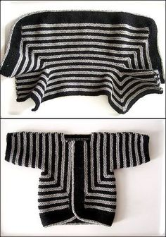 Pattern: Baby Surprise Jacket from Knitting Workshop by Elizabeth Zimmermann Yarn: Paton's Classic Wool in grey mix and Elsbeth Lavold Classic AL in black Needles: US 6 circular for the fetus! I used an i-cord cast-off that took way too long, but Knitting For Kids, Knitting Yarn, Knitting Projects, Baby Knitting, Knit Or Crochet, Crochet For Kids, Crochet Baby, Knitted Baby, Baby Patterns