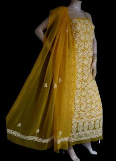ISHIEQA's Dark Yellow Georgette Chikankari Dress Material-KL0626D White C, Black B, Diy Scarf, Green Cotton, Green Dress, Pink Grey, Kurti, Designers, Saree