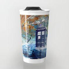 Starry Winter blue phone box Digital Art Travel mug #travelmugs  #tardis #doctorwho #tardisdoctorwho #davidtennant #vangogh #police #publiccallbox #starrynight #winter #art