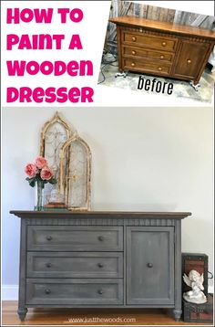 See how to paint a dresser for a classic and timeless look. This gray painted dresser tutorial is created with texture, paint and stain. DIY painted dresser makeover using wood stain, chalk paint and Saltwash texture additive. Chalk Paint Dresser, Dresser Refinish, Chalk Paint Furniture, Diy Furniture Projects, Chalk Painting, Grey Painted Dressers, Furniture Design, Diy Projects, Dresser Painting