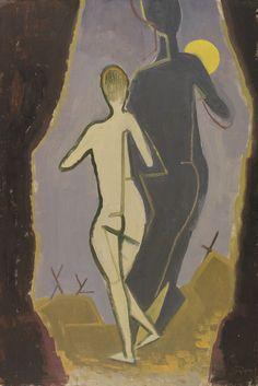""" Karl Hofer (German, 1878-1955), Frau und Schatten [Woman and Shadow], 1944. Oil on hardboard, 75 x 50 cm. """