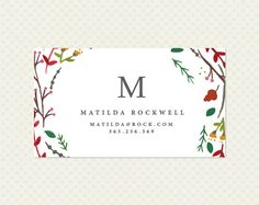 Watercolor Wreath Business Card Design. Single Sided Floral Calling Card…