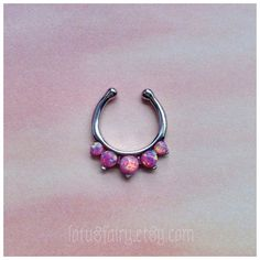 Faux Septum Piercing; Pink Opals