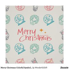 Merry Christmas Colorful Symbols Seamless Pattern Poster