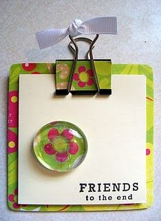 mini clipboard with matching magnet - how cute it that?