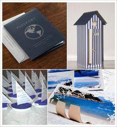 decoration mariage mer menu passeport cabine plage carte postale voilier