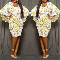 Yellow Floral African Tribal Print Chiffon Cape Cloak Bodycon Plus Size Sexy Club Party Skinny Pencil Midi Dress