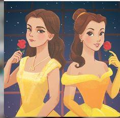 Bella de la película de animación y Bella de la nueva adaptación #Disney pero la misma princesa que nos cautiva.