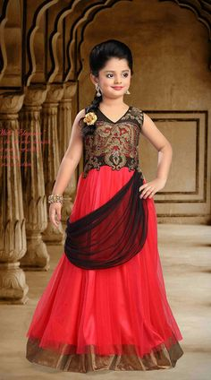 Fashionable Red Net Designer Readymade Princess Kids Gown