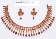 22 Karat Gold Ruby Necklace & Long Earrings set with intricate workmanship. Ruby Necklace Designs, Gold Ruby Necklace, Ruby Bangles, Gold Bangles, Gold Jewelry, Drop Earrings, Short Necklace, Jewellery, Jewelry Art