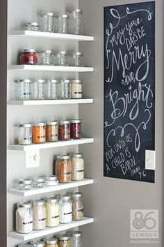#DIY Open Pantry, install floating shelves and use canning jars to store spices and dry goods, #homeimprovement