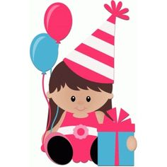 Silhouette Design Store: birthday girl sitting with present