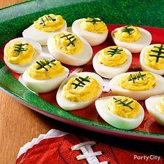 Football Deviled Eggs #SuperBowl #partyfood #recipes http://quintevents.com/sports-travel/football/nfl-super-bowl-2014