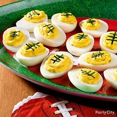 Football Deviled Eggs #SuperBowl #partyfood #recipes…
