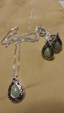 OVER 50% OFF!!! AVON - Jade & Marcasite Necklace & Earring Set - NO FEES & FREE SHIPPING!!