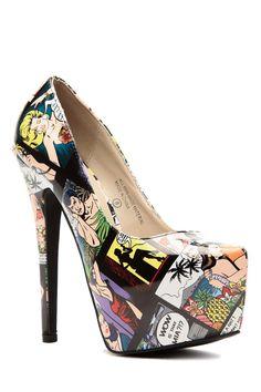 f6e225ff3d Multi Color Comic Print Platform Pumps   Cicihot Heel Shoes online store  sales Stiletto Heel Shoes