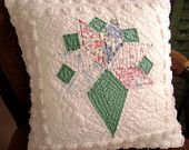 "Gorgeous Hand Quilted, Wedding Bouquet - Vintage 1930's Quilt Block 18"" Pillow - Vintage Chenille - Decorator Pillow Insert Included"