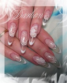 Ice #pink and white #marble #oval #french