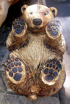 """Pine Bear Table by """"Chainsaw Chick"""" Cherie Currie"""