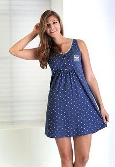 Camisola verano Massana marino. Pijamas Women, Nightgown Pattern, Casual Dresses, Fashion Dresses, Night Dress For Women, Dress With Cardigan, House Dress, Lingerie Sleepwear, Nightwear
