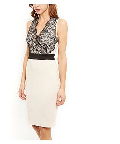 Pink Lace Wrap Front Contrast Bodycon Dress  | New Look