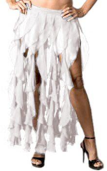 Ruffle Fringe Belly Dance Skirt Belt - WHITE