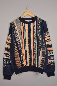 berto lucci, carlo colucci, coogi, versace look, vintage sweater, vintage crewneck, bill cosby sweater, grandpa sweater, szM door getfittedvintage op Etsy