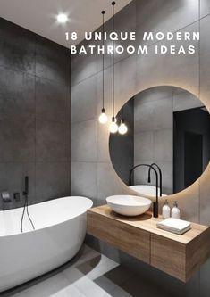 Interior Design Minimalist, Home Interior Design, Contemporary Interior Design, Black Bathroom Taps, Wood In Bathroom, Black Bathrooms, Dream Bathrooms, Bathroom Furniture, Grey Bathroom Interior