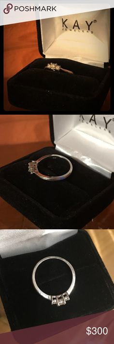 Past Present & Future Diamond Ring 💍 3 stone 14k white gold diamond ring in excellent condition, has appraised for over $900, prongs recently checked by a jeweler. Beautiful sparkle! 💎 I believe it's a size 6.5. Can add pic of appraisal for serious inquiries just ask. Can't decide which photo to remove since they all show different characteristics of the ring. Jewelry Rings