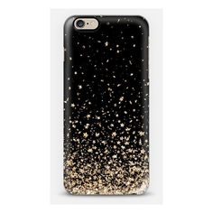 Black and Gold Stars Rain iPhone ($40) ❤ liked on Polyvore featuring accessories, tech accessories, phone cases, phone, iphone cases, cases, iphone cover case and apple iphone cases
