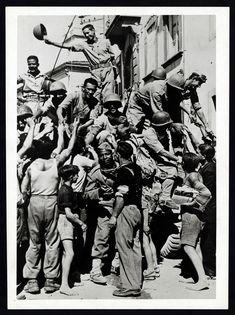 Italians greet Brazilian Troops at Massarosa - Italy 1945