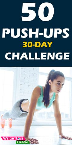 30 Days - 50 push-ups Challenge! Push-ups strengthening your chest, abs, shoulders and triceps. Best fat burning and abs workout. Push-ups challenge for beginners. Flat Belly Challenge, Push Up Challenge, Workout Challenge, Best Full Body Workout, 50 Push Ups, Muscle Weight, Killer Body, Fat Burning Workout, Workout For Beginners