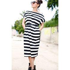 Womens Striped dress/oversize dress/maxi Striped dress/midi Chic... (£57) ❤ liked on Polyvore