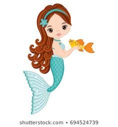 Illustration of Vector cute little mermaid with fish. Mermaid vector illustration vector art, clipart and stock vectors. Mermaid Diy, Cute Mermaid, The Little Mermaid, Mermaid Illustration, Cute Illustration, Silouette Cameo Projects, Mermaid Clipart, Mermaid Invitations, Mermaid Parties