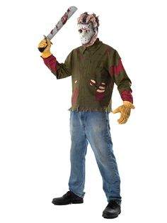 An Adorable Adult Jason Shirt and Mask Costume. Beautiful Selection of Friday The 13th Costumes for Halloween at PartyBell. Costume Halloween, Halloween 2014, Spooky Halloween, Halloween Party, Mascot Costumes, Adult Costumes, Work Shirts, Shirts For Girls, Jason Viernes 13