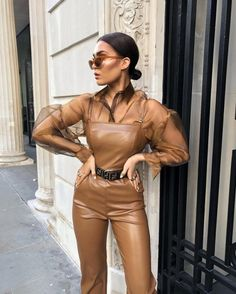 20 Best Outfit Ideas With Leather Wear For Spring Leather Catsuit, Leather Jumpsuit, Leather Pants, Leather Fashion, Boho Fashion, Fashion Outfits, Amy Jackson, Leder Outfits, Dress Link
