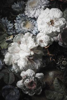 """Dark Floral Mural, Floral Wallpaper, Vintage Illustration - 108"""" x 72"""""""