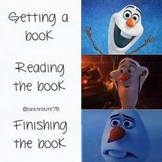 The three stages of book reading according to Olaf