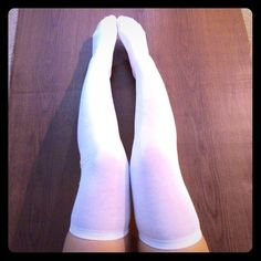 White Cotton Thigh High Socks White Cotton Over the Knee Thigh High Socks. Suitable for sensitive skin. Cute & versatile. A must have piece for any girl's closet. Length varies per person. So tumblr Accessories Hosiery & Socks