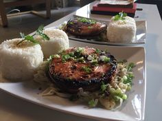 Grilled salmon over rice