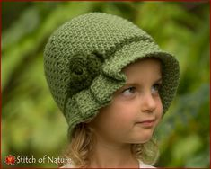 Crochet PATTERN - The Virginia Pleated Hat with a Rose, Cloche Hat, Hat doll size, Toddler to Adult sizes - Girls) - id: 16029 Crochet Baby Bonnet, Baby Girl Crochet, Crochet For Kids, Crochet Stitches Patterns, Crochet Chart, Knit Crochet, 1920s Hats, Sombrero A Crochet, Hat Hooks