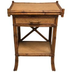 1920s Bamboo and Rattan Side Table   From a unique collection of antique and modern side tables at https://www.1stdibs.com/furniture/tables/side-tables/