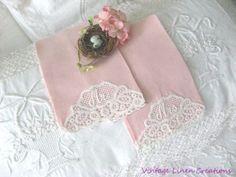 ROMANTIC-SET-Mr-Mrs-VINTAGE-LACE-TRIMMED-2-PINK-LINEN-Fingertip-TOWELS Fingertip Towels, Guest Towels, Vintage Lace, Floral Tie, Lace Trim, Romantic, Pink, Ebay, Collection